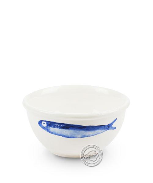 Schüssel, rund, weiß mit blauen Fischen, volllasiert 10 cm, je Stück