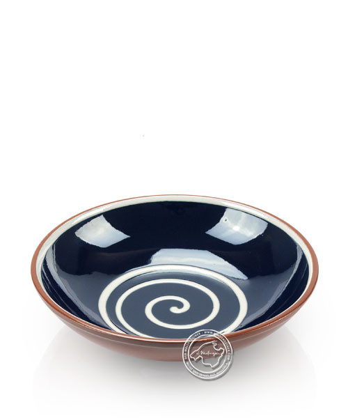 Suppenteller volllasiert braun, innen blau mit beigem Spiralmuster, rund 19 cm