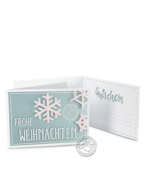 """Faltgutschein """"Frohe Weihnachten - Schneeflocke"""""""