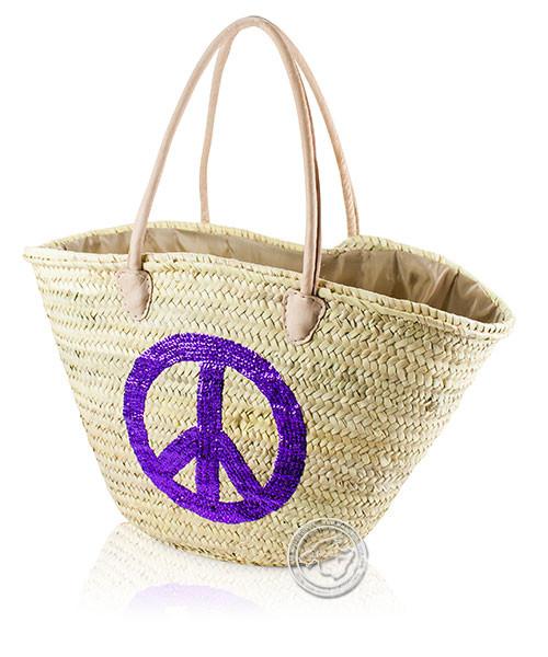 Korbtragetasche Palma-Serie Peace aus lila Pailleten, Ledertragegurten und brauner Stoffabdeckung