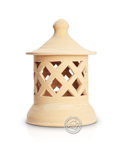 Keramik / Licht / Kunst Campos, Lampara Medi. - Keramikstehleuchte natur Raute mit Sockel, 29 cm