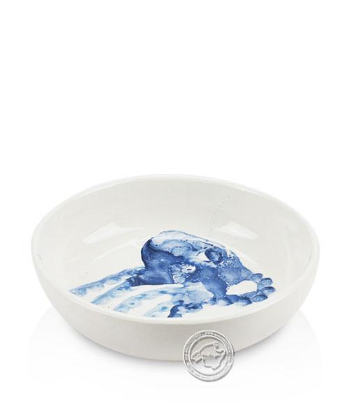 Schale, rund, weiß mit blauen Tintenfisch, volllasiert 14 cm, je Stück