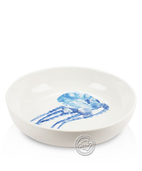 Schale, rund, weiß mit blauen Tintenfisch, volllasiert 22 cm, je Stück