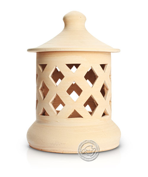Keramik / Licht / Kunst Campos, Lampara Medi. - Keramikstehleuchte natur Raute mit Sockel, 37 cm