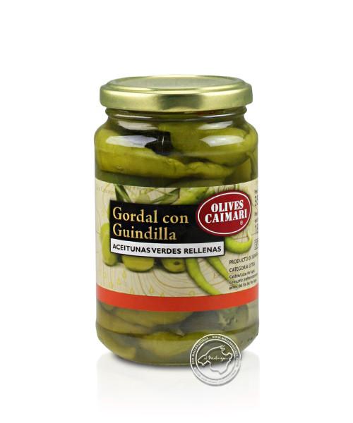Gordal Con Guindillas - Gordal-Oliven mit Pfefferschoten, 180-g-Glas
