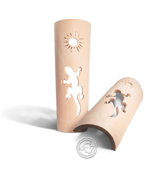 Keramik / Licht / Kunst Ca Na Mel, Tejs Drage + Sol- Dachschindelleuchte natur Gecko + Sonne, groß