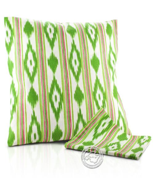 Funda llengues - Kissenüberzug im llengues-Muster, grün/pink, 60x60 cm