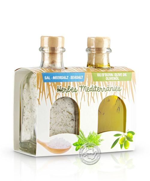 Mallorca Verda - Pack Sal Marina Herbes mediter. i Oli d´oliva herbes, 100 ml. x 2