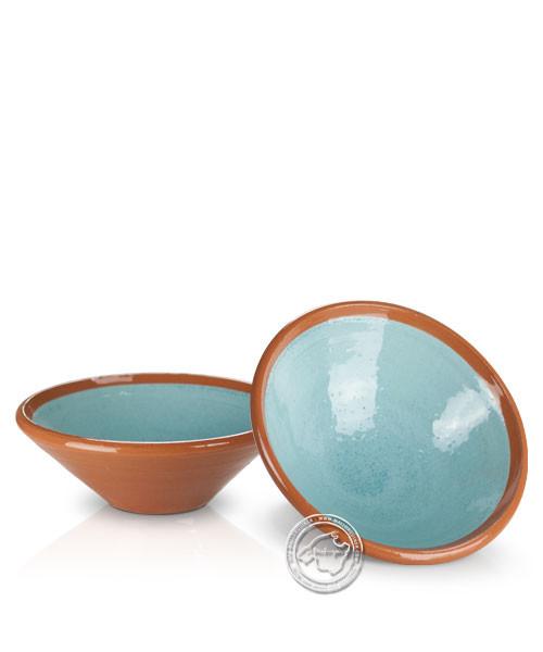 Platitos Mini - Schale volllasiert braun außen, innen hellblau, rund 10 cm