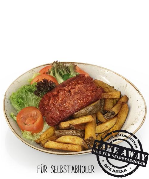 Chorizo a la brasa con patatas fritas y Ensalada - Paprikawurst mit Pommes und Salat