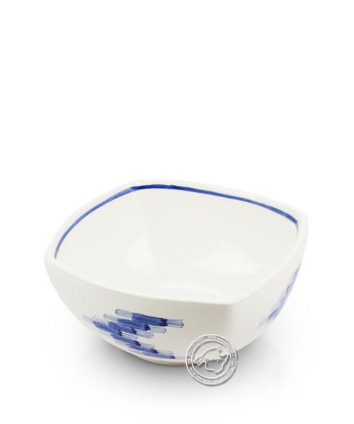 Schale weiß, Llenguesmuster blau, volllasiert 16 cm, je Stück