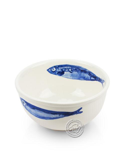 Schüssel, rund, weiß mit blauen Fischen, volllasiert 14 cm, je Stück