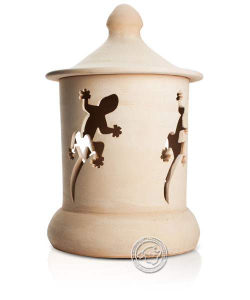 Keramik / Licht / Kunst Campos, Lampara Gran. - Keramikstehleuchte natur Gecko mit Sockel, 50