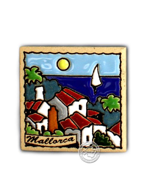 Fliesen aus Mallorca Reliefmagnetfliese mit 3 Fincas-Motiv 5,5 cm x 5,5 cm