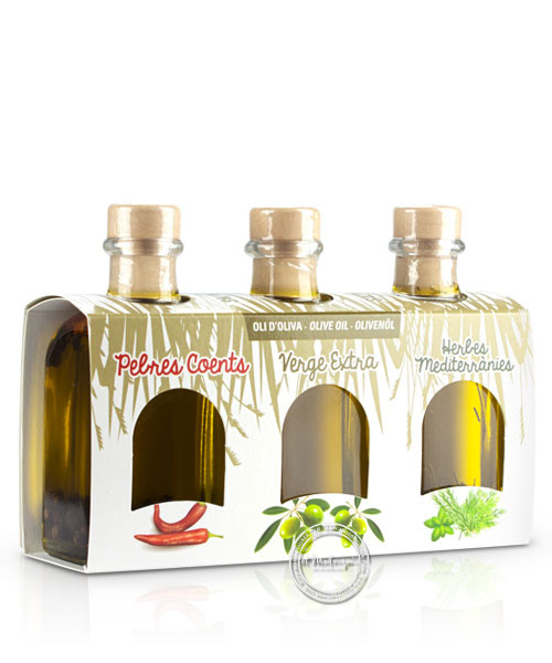 Mallorca Verda - Pack Oli Pebres Coents, Oli Virgen Extra i Oli Herbes med., 100 ml. x 3