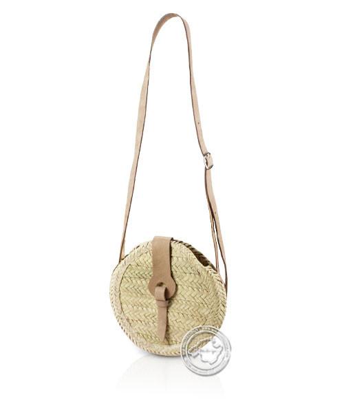 Korbtragetasche Palma-Serie rund mit Ledergurt und Lederschnalle 25 cm, je Korb