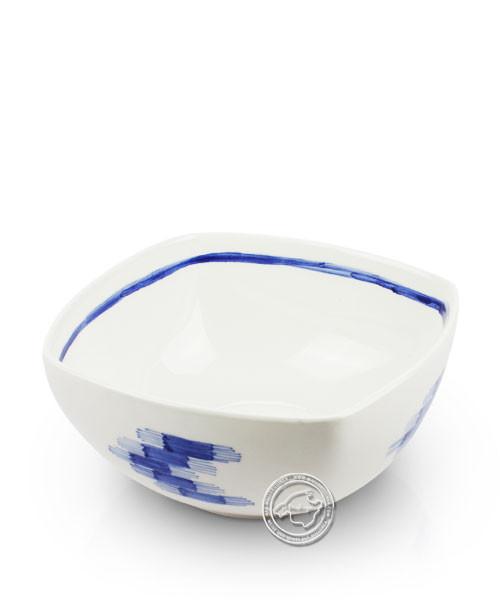 Schale weiß, Llenguesmuster blau, volllasiert 19 cm, je Stück