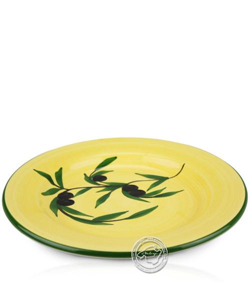 Teller voll lasiert gelb mit Olivenzweig-Dekor 25 cm