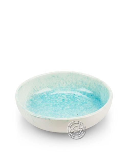 Schale, rund, weiß/türkis, volllasiert 14 cm, je Stück