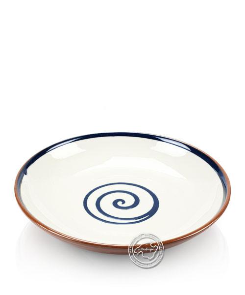 Teller volllasiert braun, innen beige mit blauem Spiralmuster, rund 25 cm
