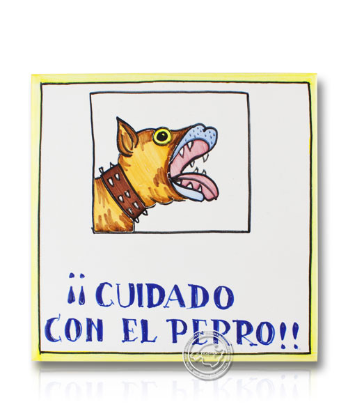 Fliesen aus Mallorca Alerta el ca Mossega - Vorsicht bissiger Hund auf Spanisch 15 cm x 15 cm