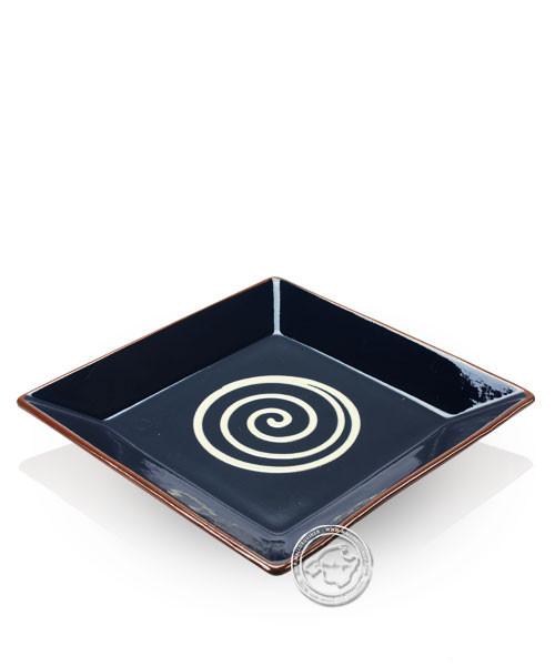 Teller volllasiert braun, innen beige mit blauem Spiralmuster, eckig 25 cm
