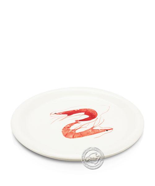 Plato, rund, weiß mit Gambas rot, volllasiert 27 cm, je Stück