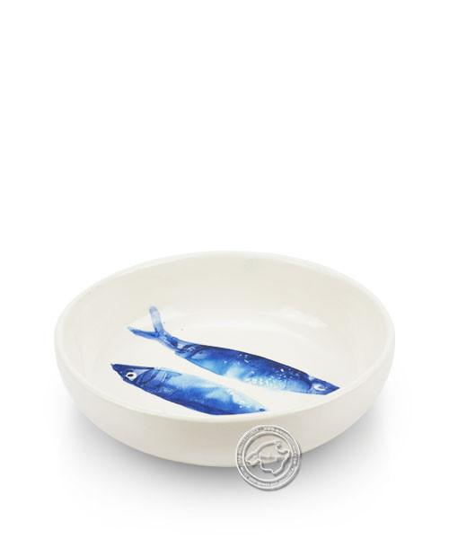 Schale, rund, weiß mit blauen Sardinen, volllasiert 14 cm, je Stück