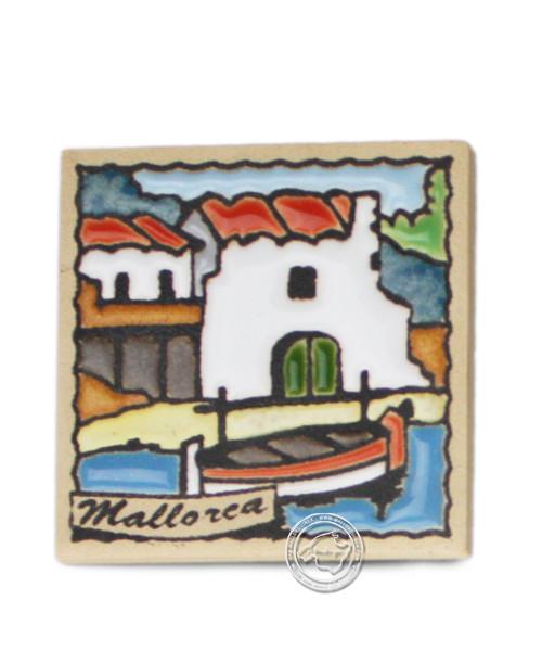 Fliesen aus Mallorca Reliefmagnetfliese mit Fincas-Motiv 5,5 cm x 5,5 cm