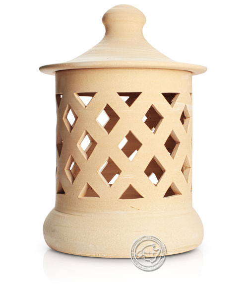 Keramik / Licht / Kunst Campos, Lampara Grandes - Keramikstehleuchte natur Raute, 50 cm