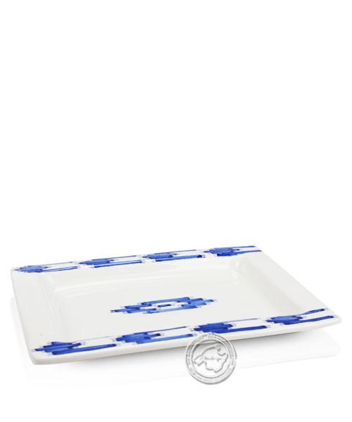 Plato Cuadrado Llegura Azul - Tonplatte eckig volllasiert mit blauen Lleguramuster auf beigem Grund,