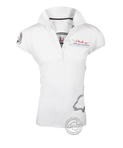 Der Mallorquiner Polo-Shirt weiß Damen Logo Patch