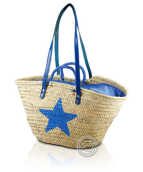 Korbtragetasche Palma-Serie Stern gedruckt, blau, mit Ledertragegurten und blauer Stoffabdeckung