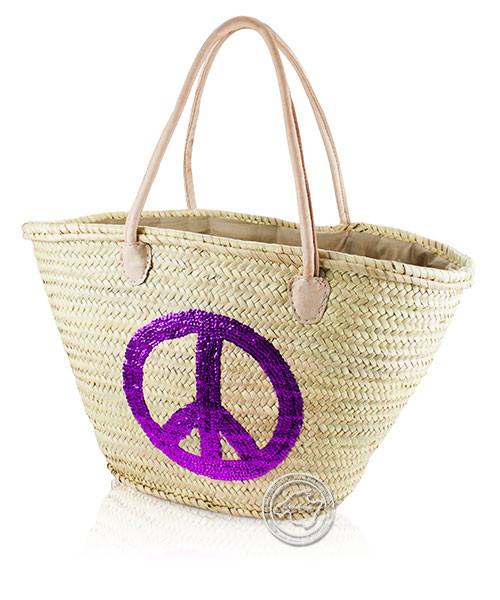 Korbtragetasche Palma-Serie Peace aus pinken Pailleten, Ledertragegurten und brauner Stoffabdeckung