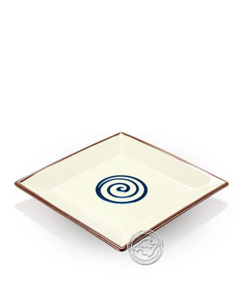 Teller, eckig, Spiralmuster beige/blau, volllasiert 20 cm, je Stück