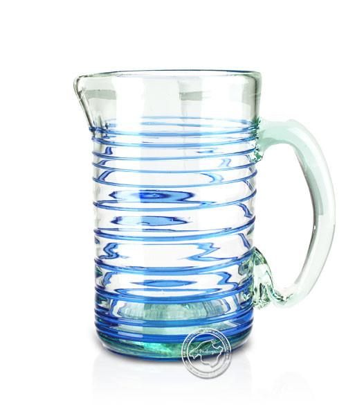 """Glashandwerk Lafiore """"Piche Vidrio azul"""" - Glaskaraffe mit blauem Spiralmuster aufgearbeitet, je Stü"""
