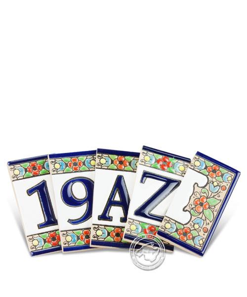 Fliesen aus Mallorca A-Z und 1-9 Buchstaben- und Zahlenfliesen 7,5 cm x 4 cm