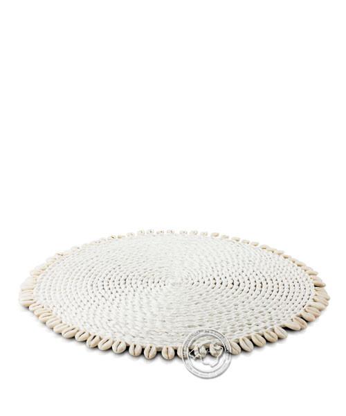 Palmwedeltelleruntersetzer weiss mit Muscheln 38 cm