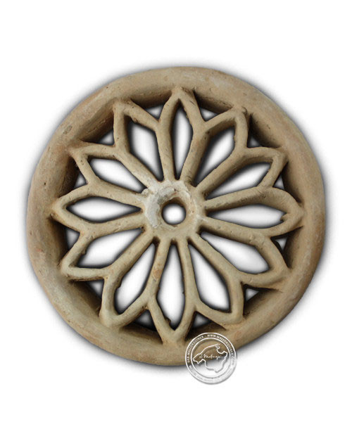 Tonrosette, natur, rund mit Blumenmotiv 26 cm