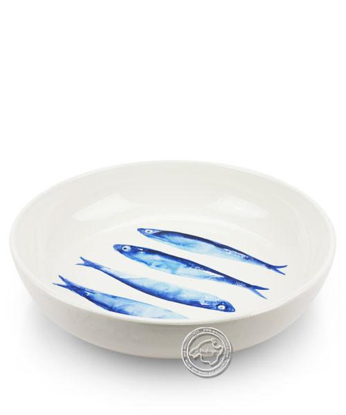 Schale, rund, weiß mit blauen Sardinen, volllasiert 26 cm, je Stück
