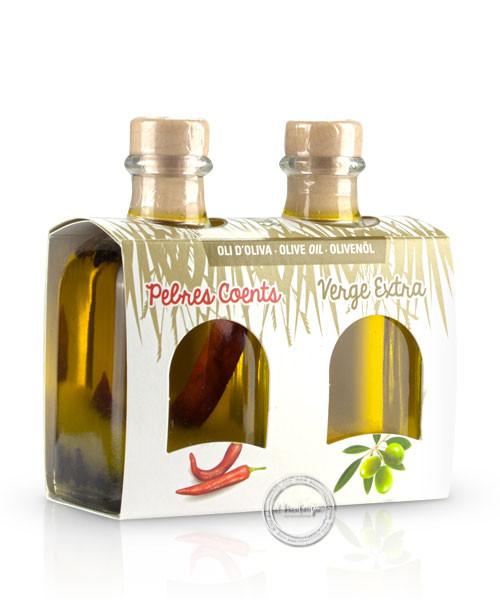 Mallorca Verda - Pack Oli d´oliva verge extra i Oli pebres coents, 100 ml. x 2