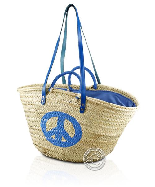 Korbtragetasche Palma-Serie Peace gedruckt, blau, mit Ledertragegurten und blauer Stoffabdeckung