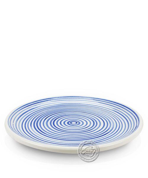 Plato, rund, weiß mit blauen Streifen, volllasiert 30 cm, je Stück