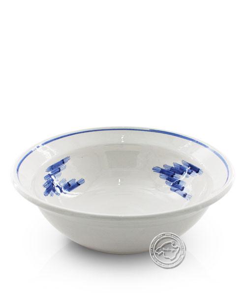 Schüssel weiß, Llenguesmuster innen blau, volllasiert 30 cm, je Stück