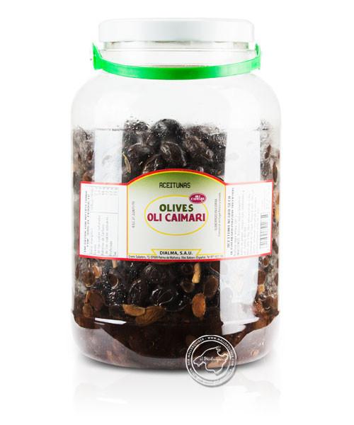 Aceitunas negra pansida - Schwarze Oliven, 2,2-kg-Eimer