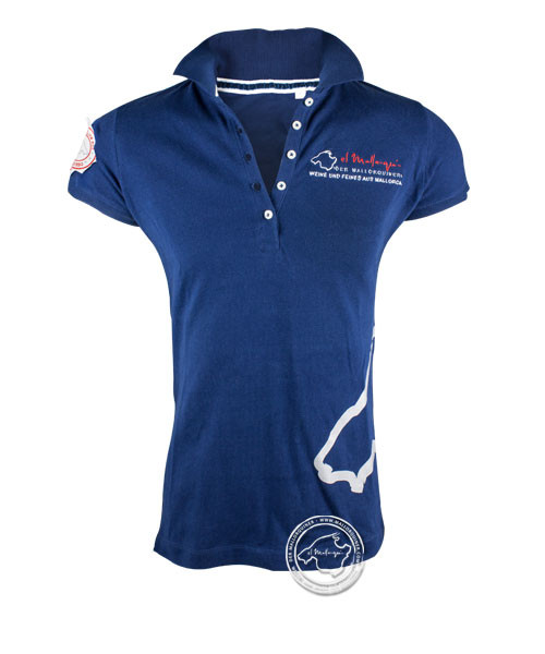Der Mallorquiner Polo-Shirt blau Damen Logo Patch