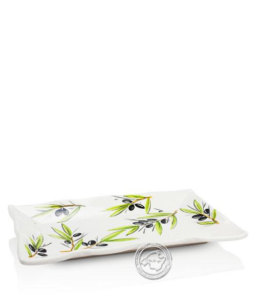 Plato Cuadrado Oliva - Tonplatte eckig volllasiert mit Olivenzweigmuster auf weißem Grund, 36 cm