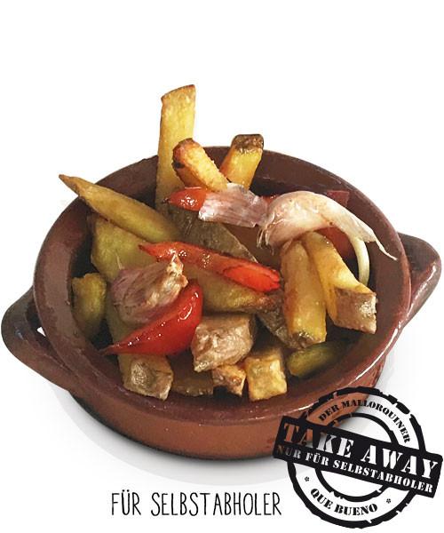 Patatas Fritas con Ajo y Pimiento - Kartoffelstäbchen mit Knoblauch und Paprikastreifen