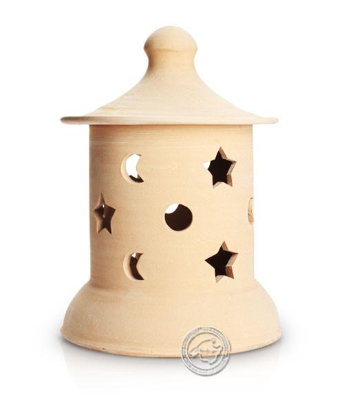 Keramik / Licht / Kunst Campos, Lampara Medi. - Keramikstehleuchte natur Sterne/Mond mit Sockel, 37