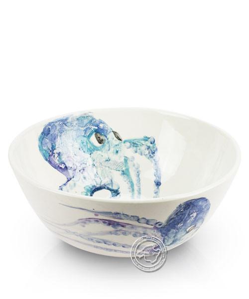 Schüssel, rund, weiß mit blauen Tintenfischen, volllasiert 26 cm, je Stück